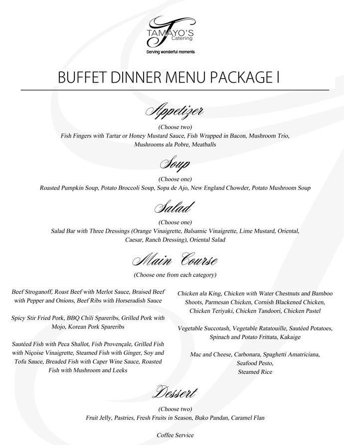 Tamayo's Catering - Catering Packages