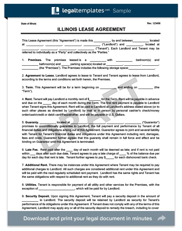 Illinois Residential Lease Agreement | Create a Free Rental ...