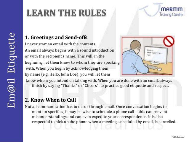 Email protocol & courtesy