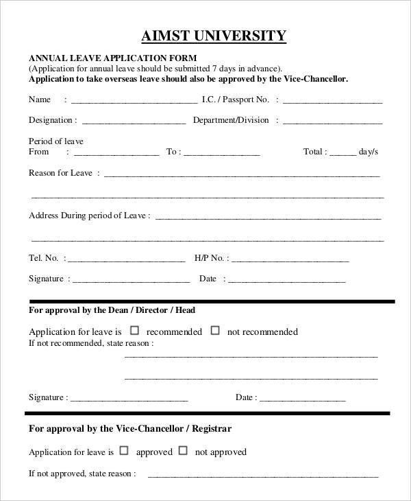 Application For Leave Form - formats.csat.co