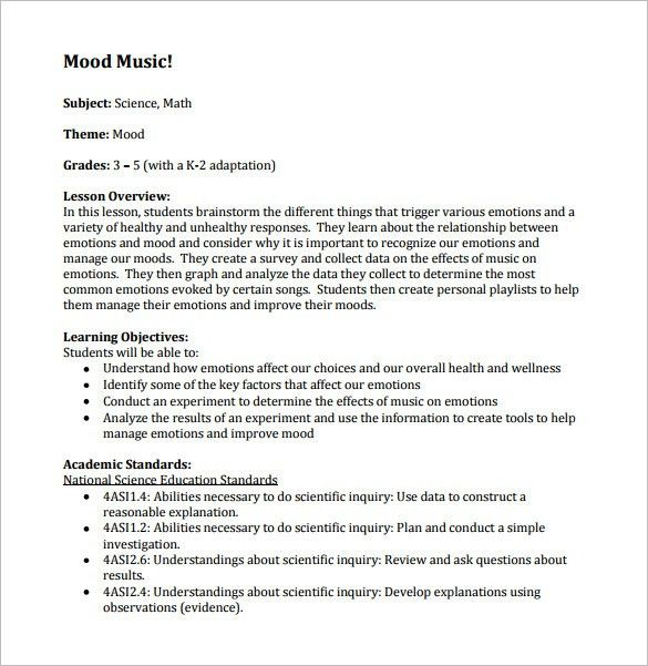 Music Lesson Plan Template – 8+ Free Sample, Example, Format ...