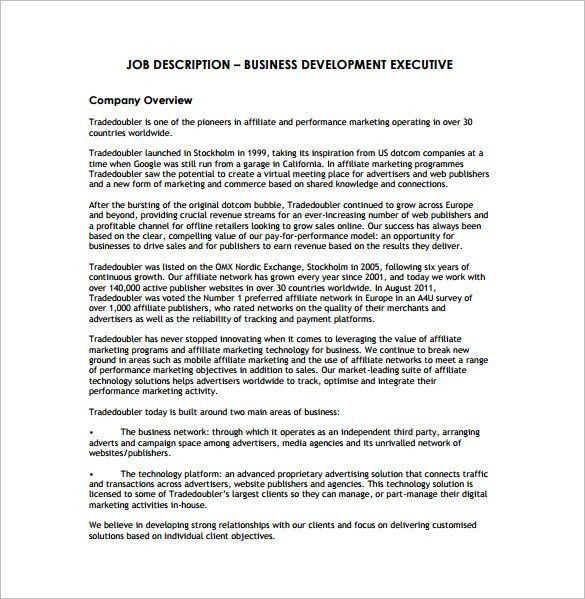 Business Development Job Description Template 10 Free Word Pdf .