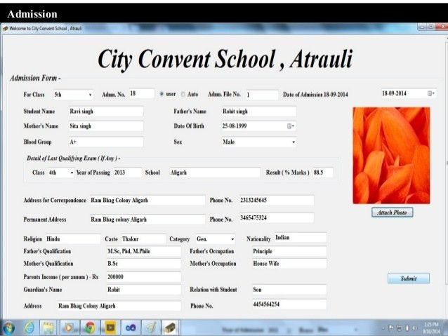 Presentation of city convent school software demo