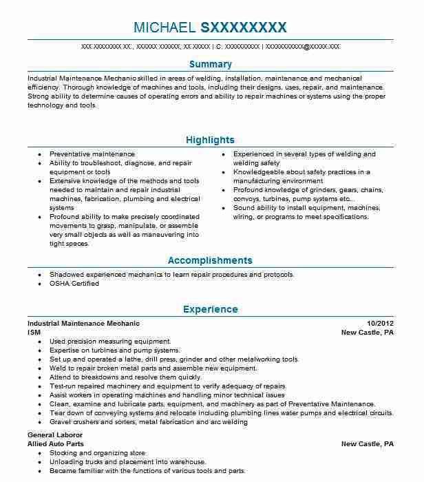Best Industrial Maintenance Mechanic Resume Example | LiveCareer