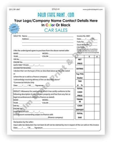 50 2 PART CUSTOM AUTOMOTIVE VEHICLE CAR BILL SALE INVOICE FORM ...