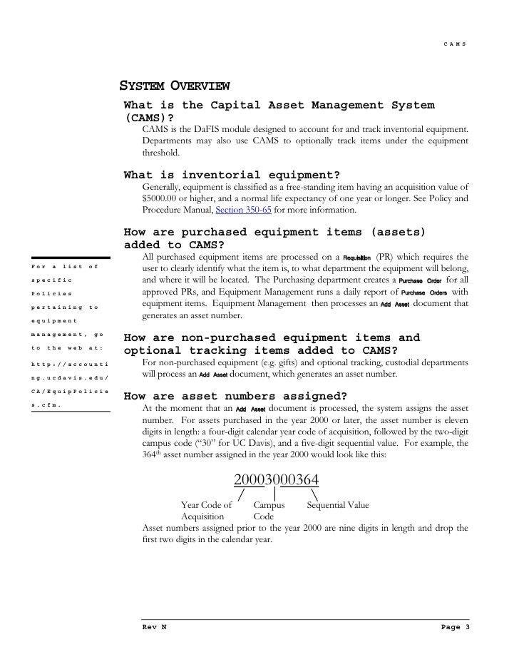 Capital Asset Management Training Manual (Word)