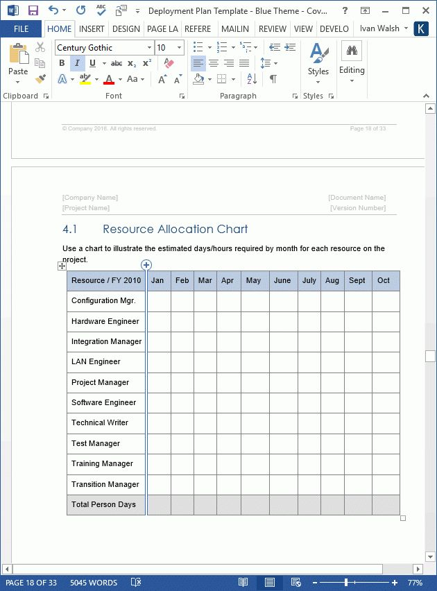 Deployment Plan Template - Download 28 page MS Word sample template