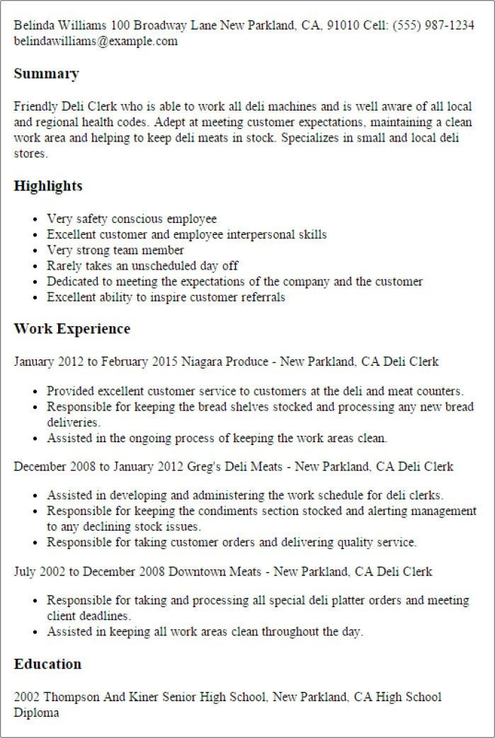 100+ Deli Job Description For Resume - 99 Names Of Allah U2013 ...