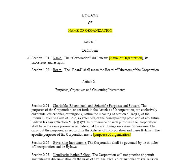 Non Profit Bylaws Template Free | Template Design