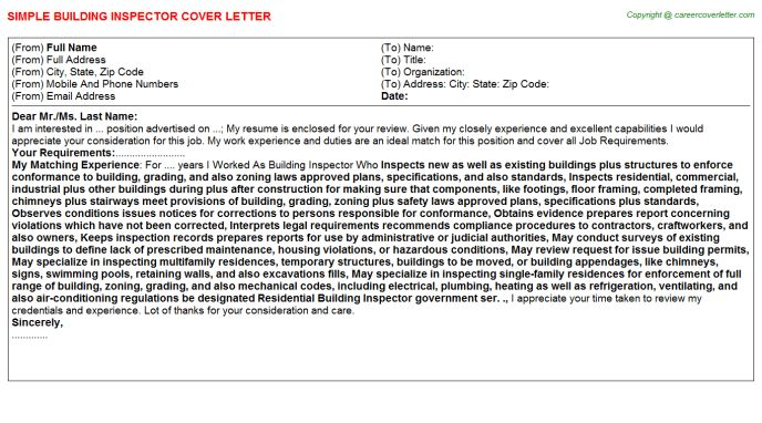 Building Inspector Cover Letter