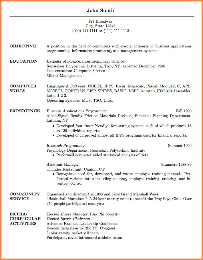 5+ Academic Resume Template For Grad School | Resume Template