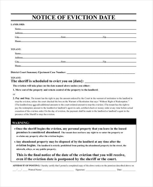Oregon Eviction Notice Template Free | Experience Letter For New ...