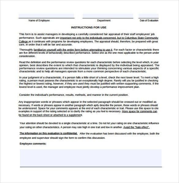 Staff Evaluation Sample - 9+ Documents in PDF