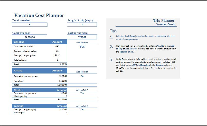 MS Excel Vacation Cost Planner Template | Excel Templates