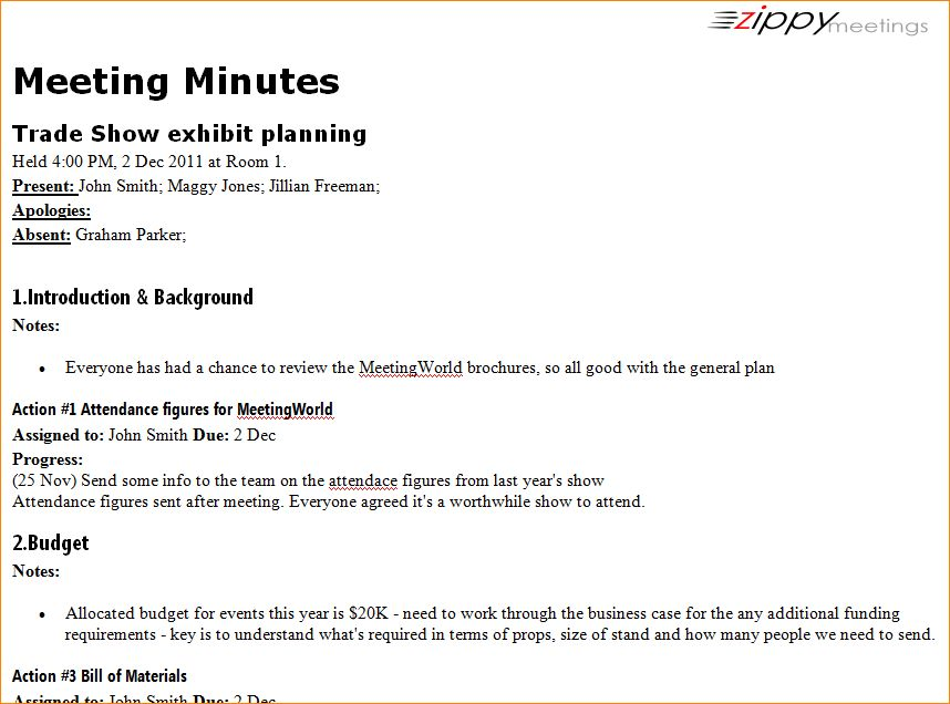 7+ examples of meeting minutes | Outline Templates