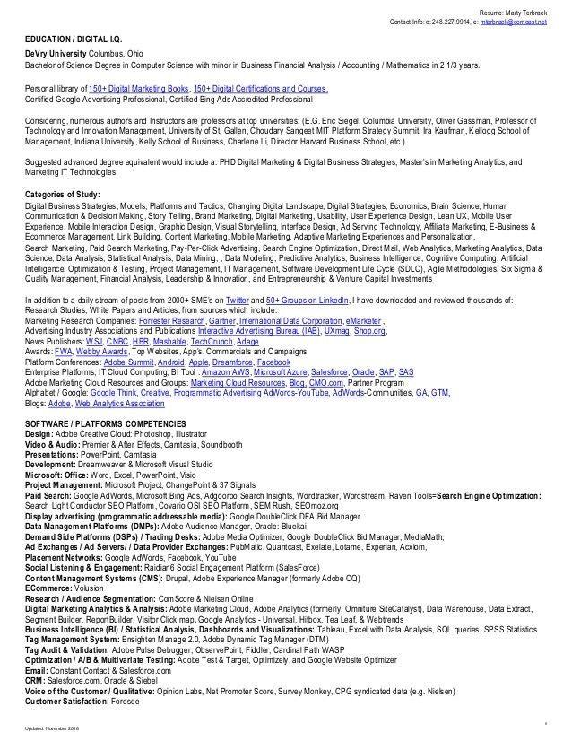 Marty Terbrack Resume 2016