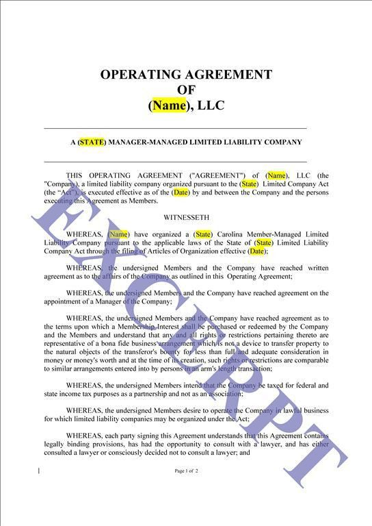 Operating Agreement LLC Manager Managed: REALCREFORMS