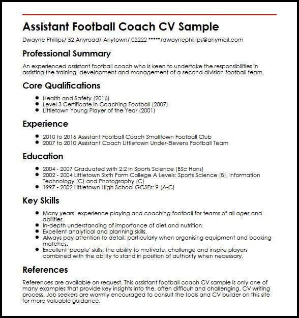 Assistant Football Coach CV Sample | MyperfectCV