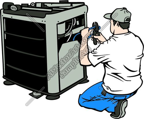 AC Mechanic Fixing Air Conditioning Clipart and Vectorart ...