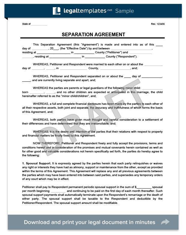 Separation Agreement | Download & Print for Free | Legal Templates