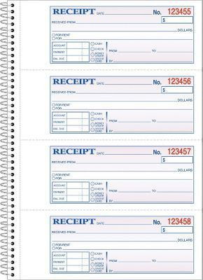 "Adams® Carbonless Money/Rent Receipt Books, 7-5/8"" x 11"", 2 Part ..."