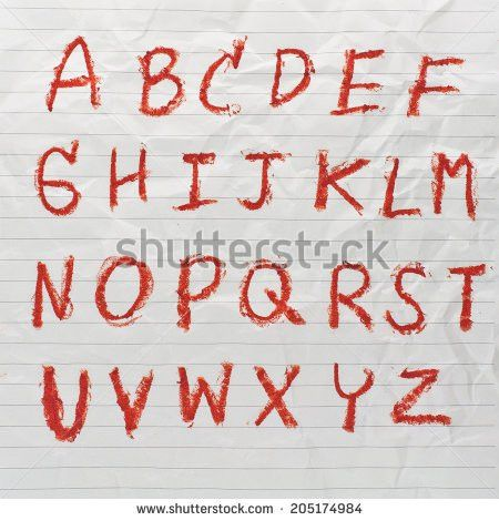 Drawing Sketch English Alphabet On Crumpled Stock Illustration ...