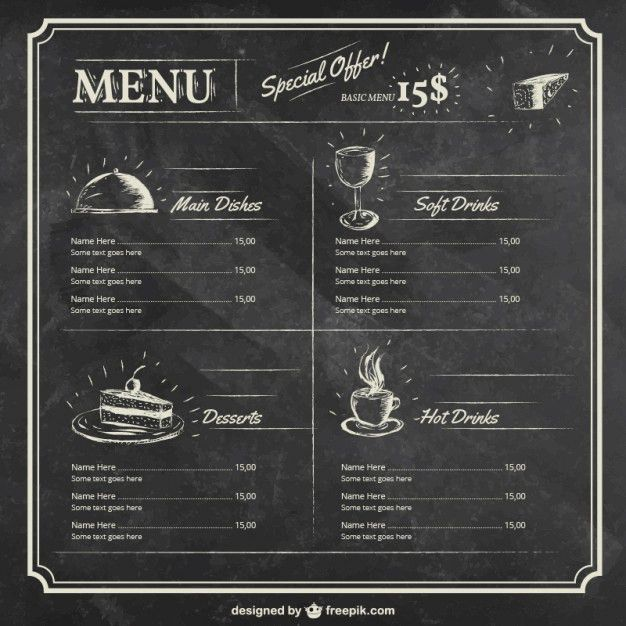Menu template on blackboard Vector | Free Download