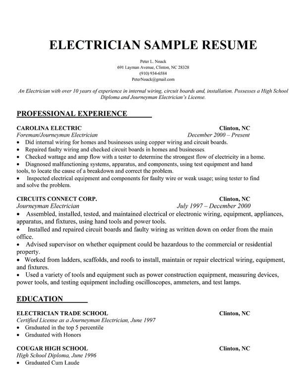 Electrician Resume Template. Electrician Resume Format Resumes For ...