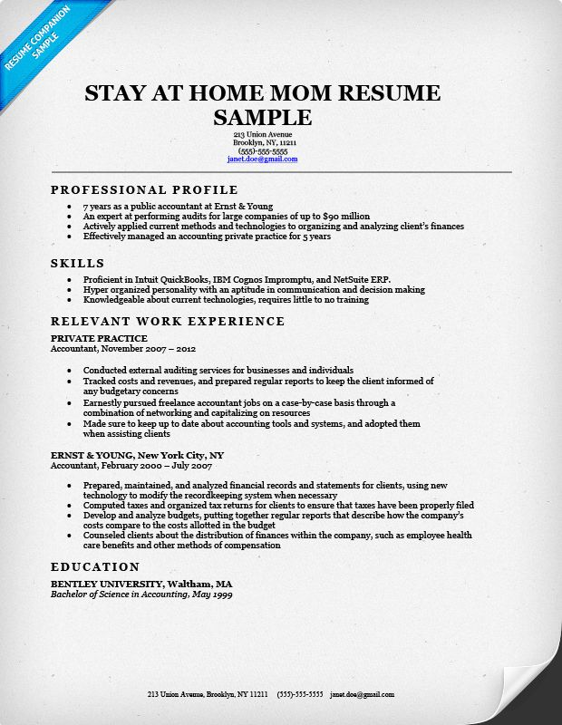 Stay-At-Home Mom Resume Sample & Writing Tips | Resume Companion