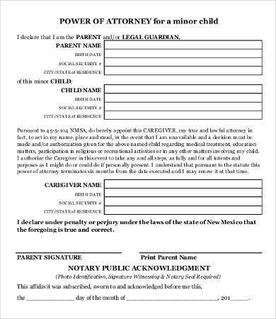Power Of Attorney Form Free Printable - 9+ Free Word, PDF ...