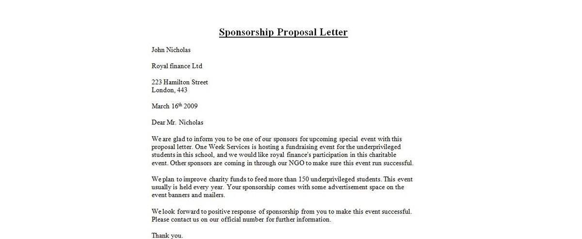 Sponsorship Letters. Sports Sponsorship Thank You Letter 69+ Thank ...