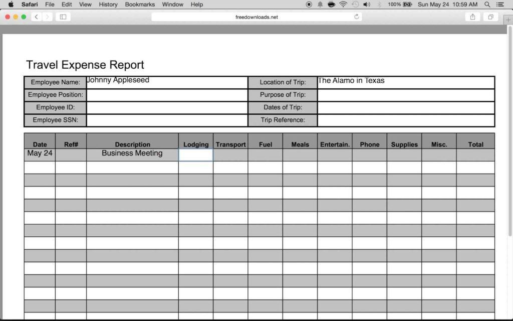 Expense Report Spreadsheet Template | HYNVYX