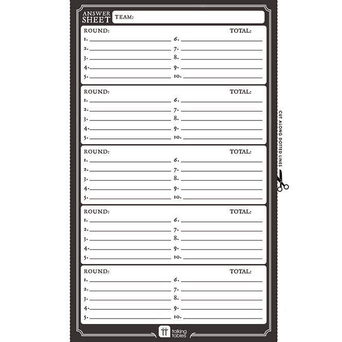 Pub Quiz Free Printable - Answer Sheet | Talking Tables