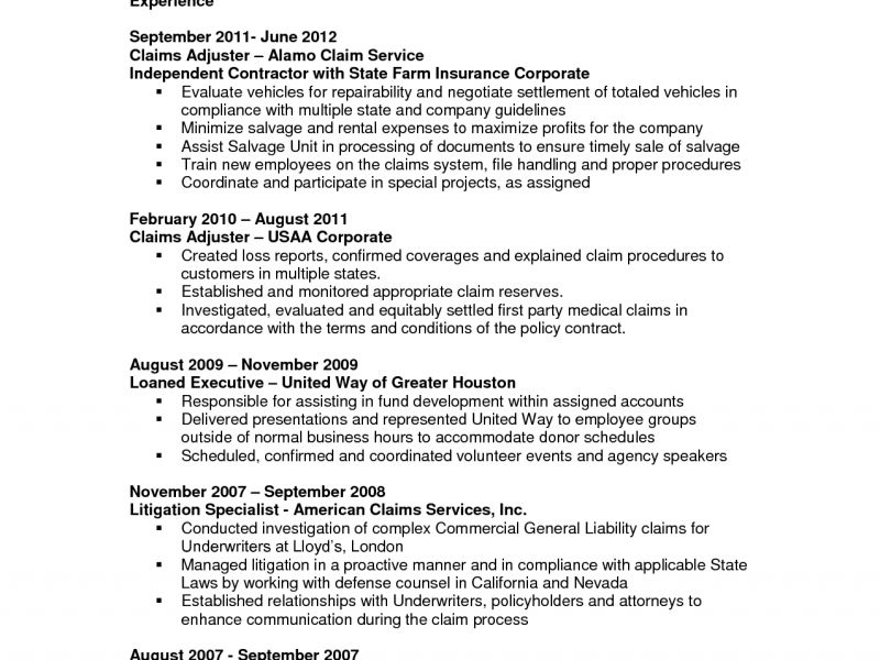 Claims Adjuster Resume 2 - Resume CV Cover Letter