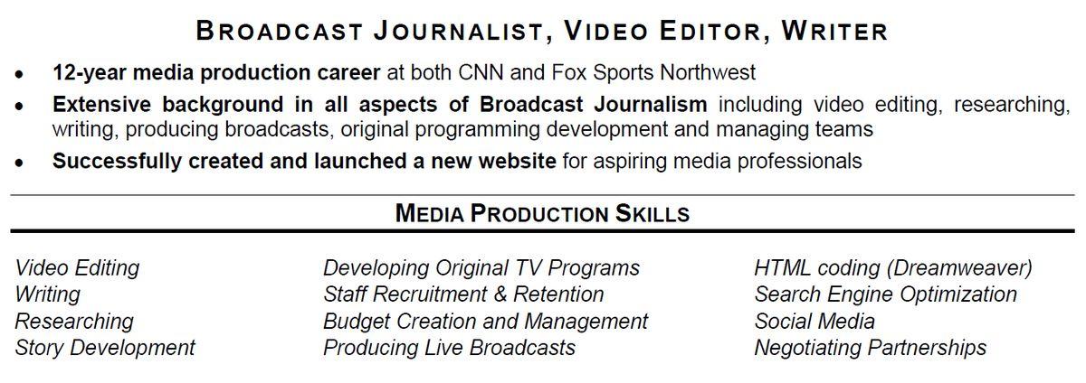 Media Broadcasting Resume Media Broadcasting Resume Popular Resume