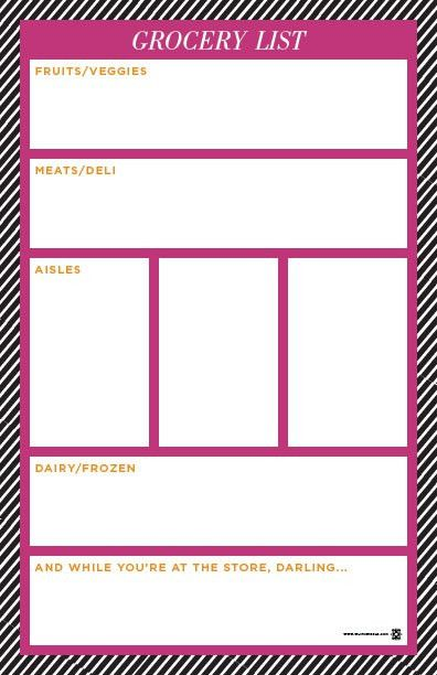 cute free printable shopping list split into categories ...