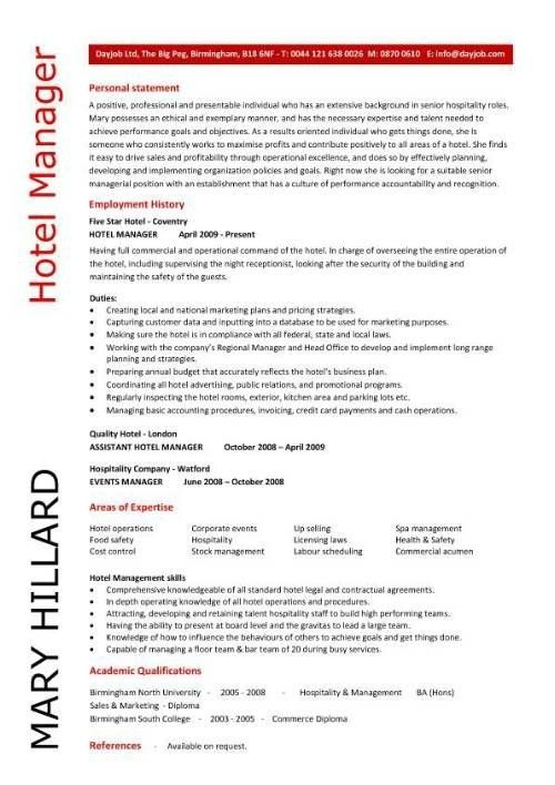 resume template for hospitality hospitality cv templates free