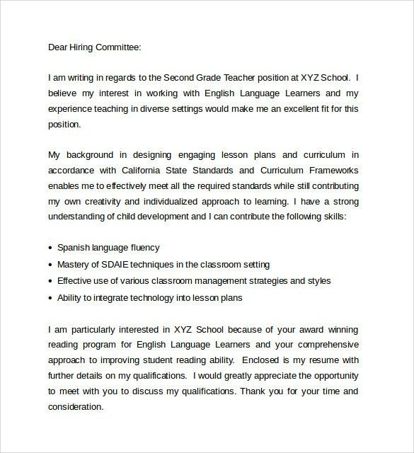 Sample Education Cover Letter Example - 9 + Download Free ...