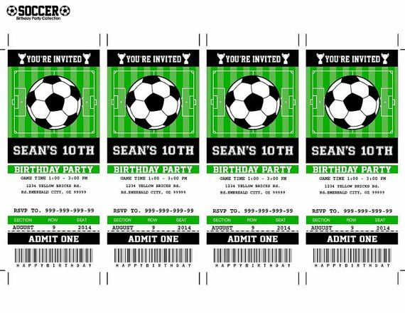 Soccer Birthday Party Invitation Ticket Printable by SqweezDesign ...