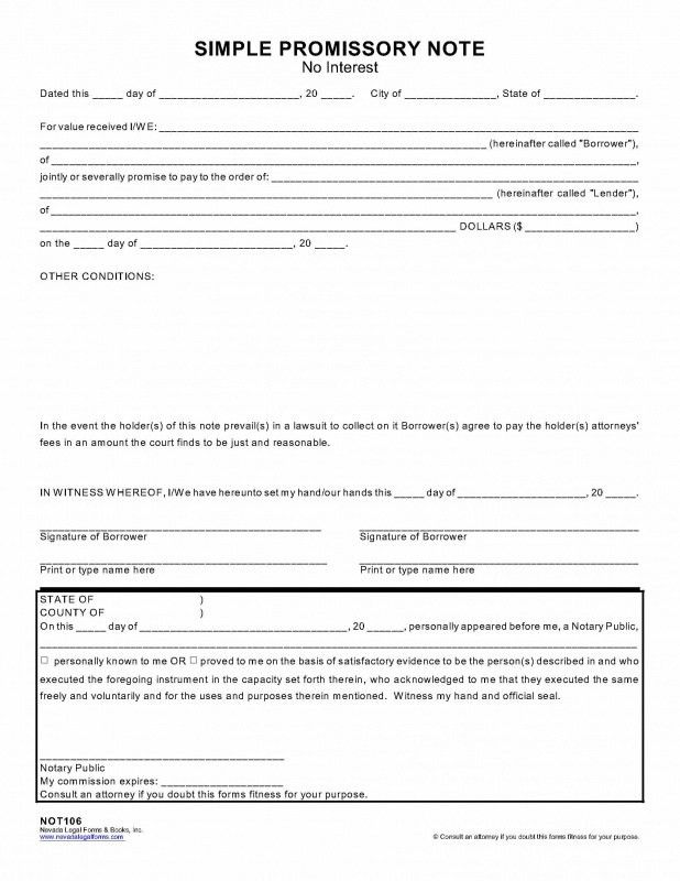 SIMPLE PROMISSORY NOTE (no interest) - Nevada Legal Forms & Tax ...