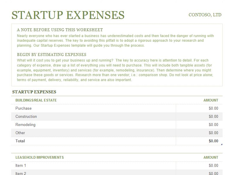 Startup expenses - Office Templates