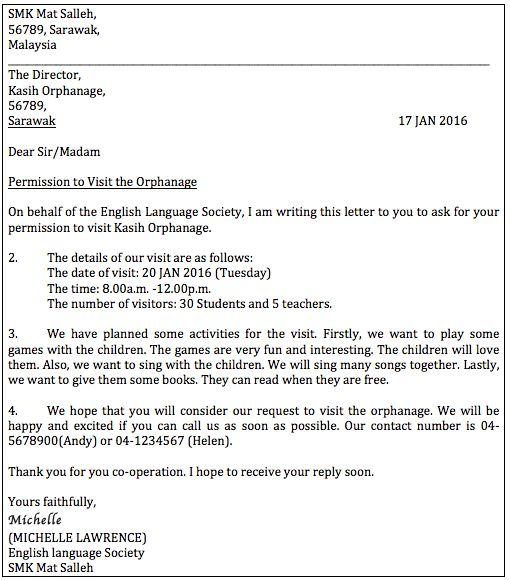How To Write a Letter of Permission (Formal Letter) – PT3 ENGLISH.com