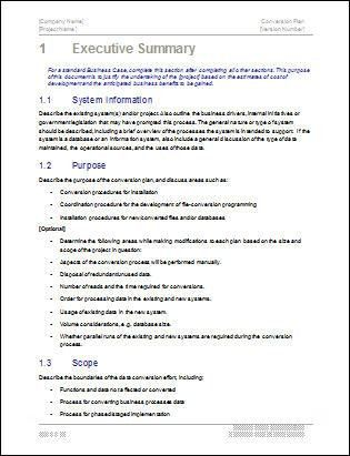 Executive summary word template executive summary office conversion plan template download 19 page ms word sample templates pronofoot35fo Image collections