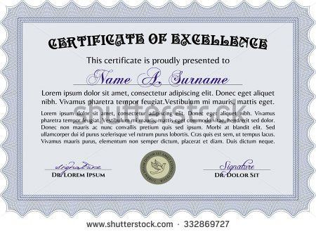 Certificate Completion Template Vintage Theme Stock Vector ...