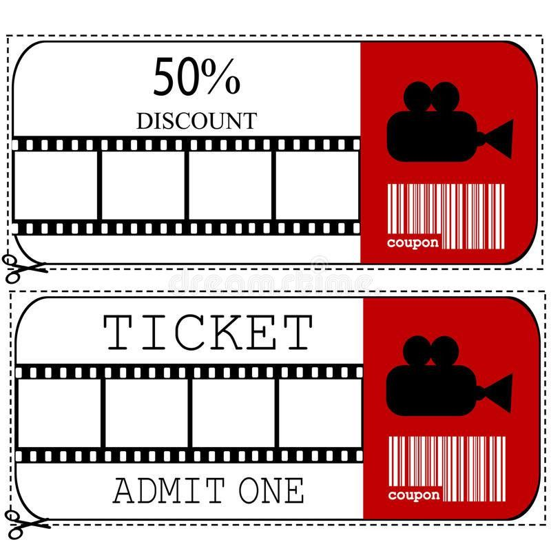 Sale Voucher And Entrance Ticket For Cinema Movie Stock Photo ...