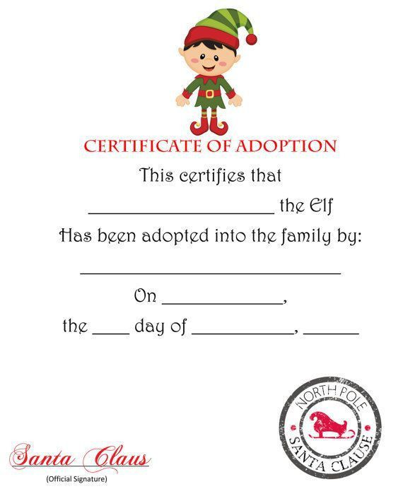 free elf on the shelf adoption certificate printable | il_570xN ...