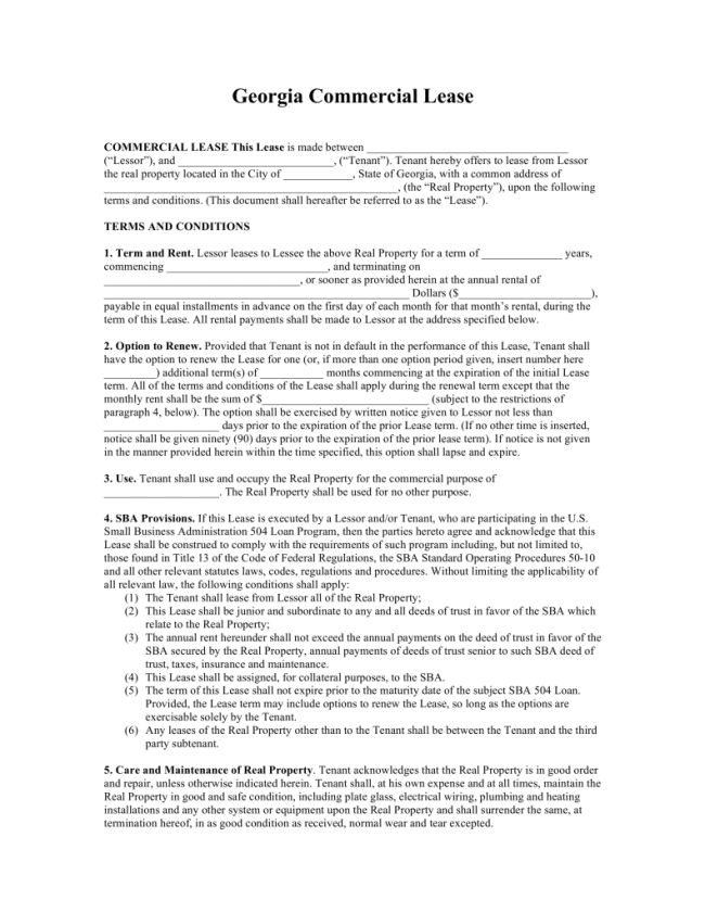 Free Download Georgia Commercial Lease Agreement Sample with 5 ...