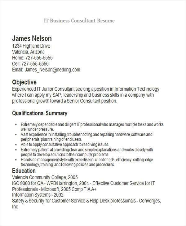 junior consultant resume
