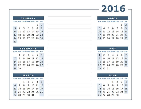 2016 Yearly Calendar Two Page - Free Printable Templates