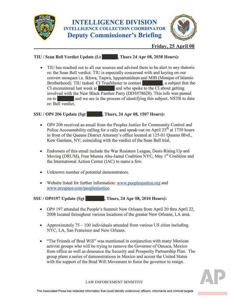 Documents show NYPD infiltrated liberal groups | Online Athens